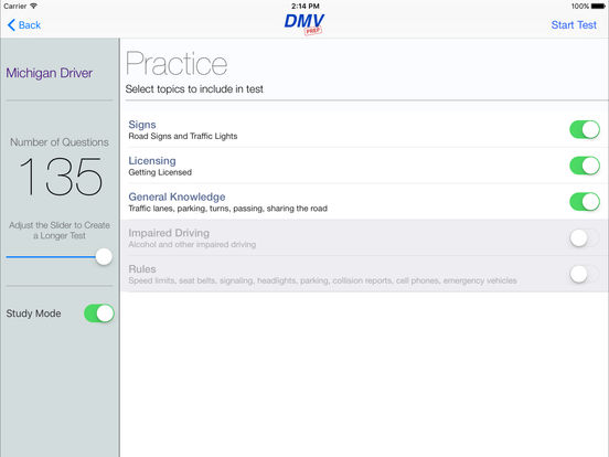 DMV Test Prep - Michigan iPad Screenshot 2