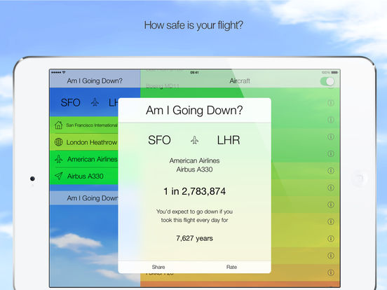 Am I Going Down? Fear of Flying App Screenshots