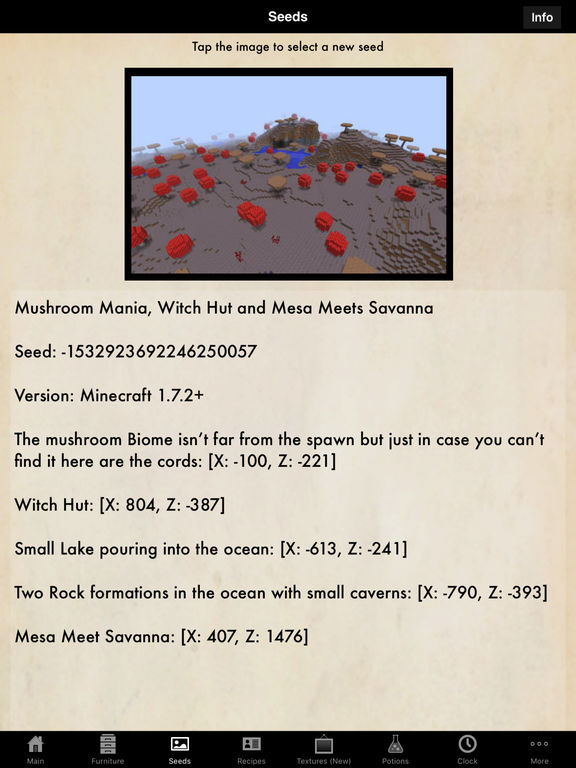 Guidecraft - Seeds, Furniture Ideas and Crafting Guide for Minecraft screenshot