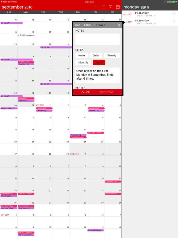 Calvetica Calendar Screenshot