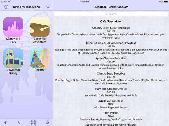 Disneyland Dining iPad Screenshot 2