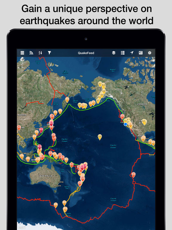 The best ipad apps for earthquake alerts apppicker quakefeed earthquake map alerts and news world earthquakes displayed on esri maps screenshot gumiabroncs Gallery