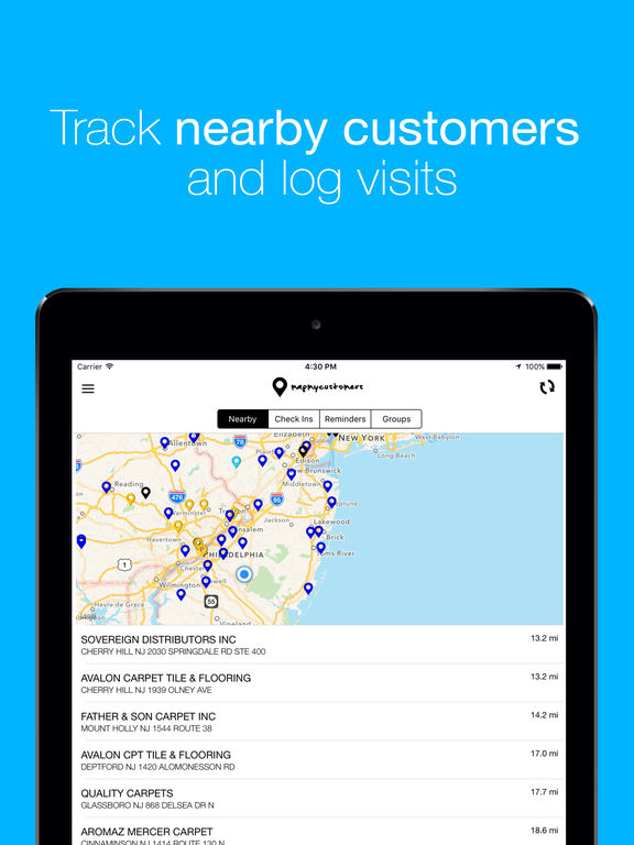Map My Customers – Pin Mapping & Route Planning Screenshots