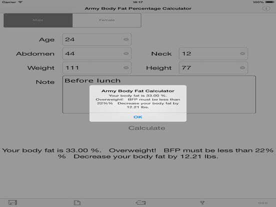 Army Body Fat Percentage Calculator for iPad iPad Screenshot 1