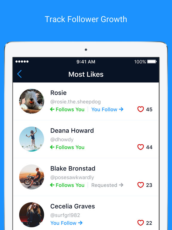 Followers + for Instagram - Follow Management Tool for iPhone, iPad, iPod screenshot