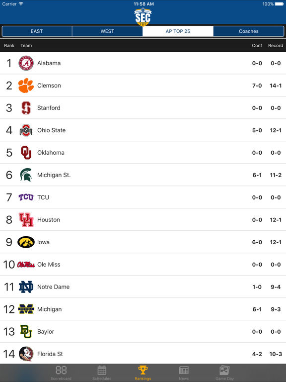 espn sec scores college football schedule tomorrow