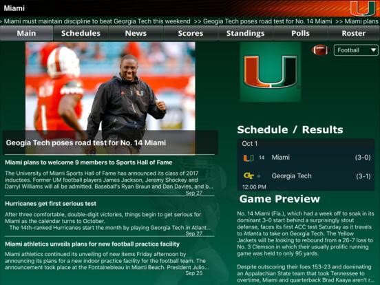 Miami Hurricanes College SuperFans iPad Screenshot 1