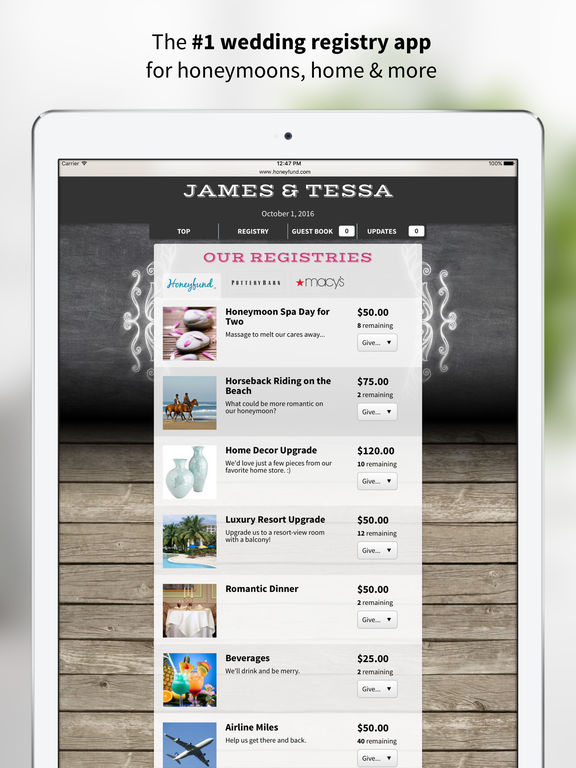 Honeyfund Wedding Registry - #1 Honeymoon Registry screenshot