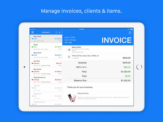 Invoice estimate tiny invoice apprecs for Best ios invoice app
