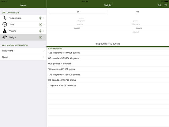 kitchenunits a unit conversion calculator for the kitchen screenshot