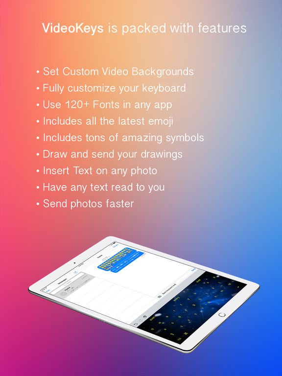 VideoKeys Keyboard - Set any video background and use symbols,fonts and new emoji Screenshots