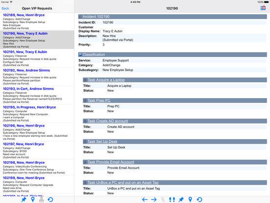iCherwell iPad Screenshot 1