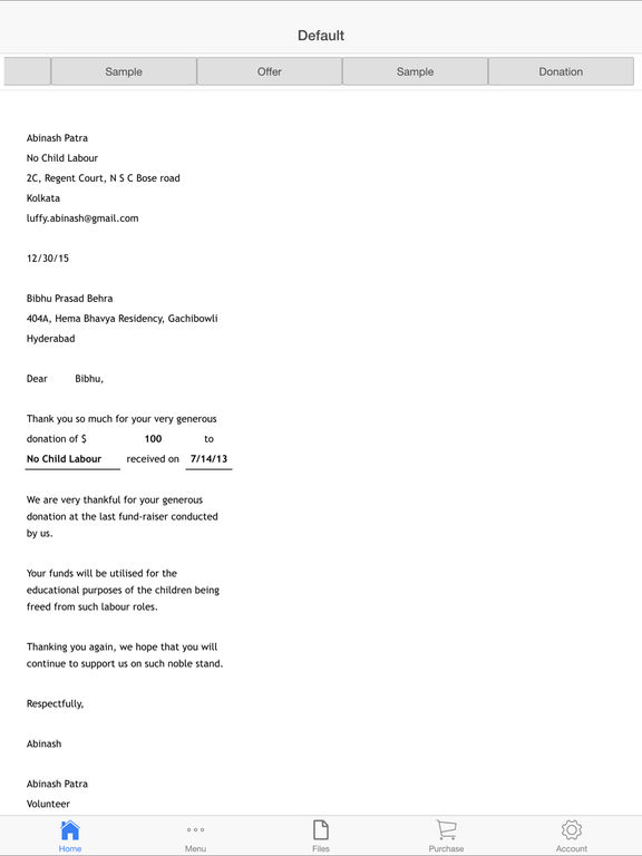 Business Letter Screenshots
