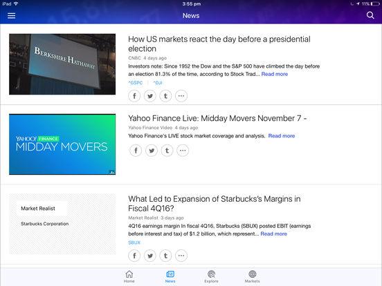 Yahoo! Finance iPad Screenshot 4