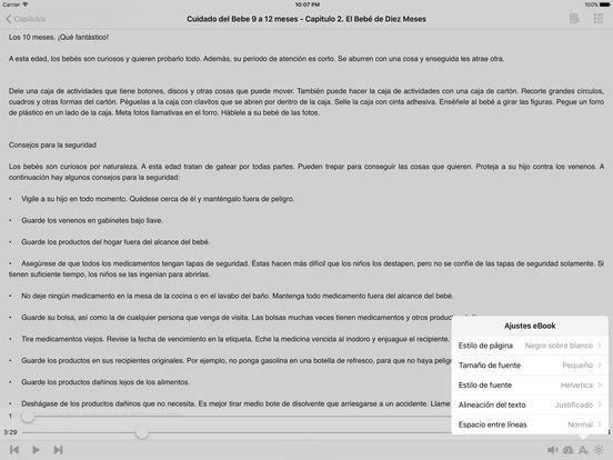 Cuidado del Bebe 9 a 12 meses – AudioEbook iPad Screenshot 1