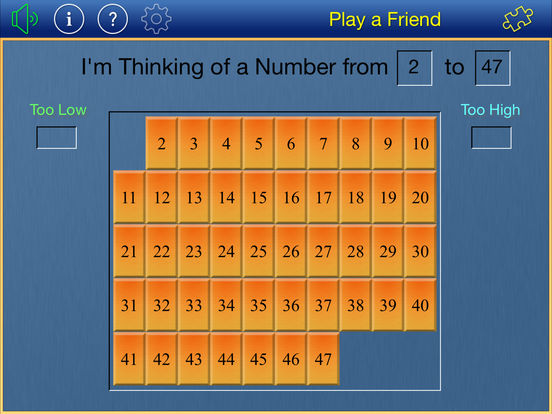 Thinking of a Number iPad Screenshot 1