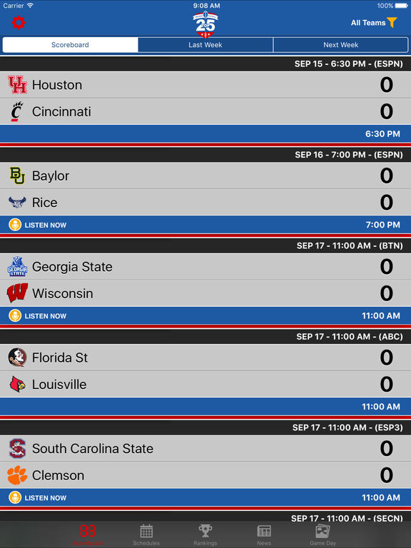 college top 25 scores football schedules