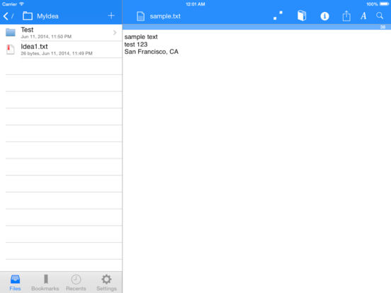 Textforce - Dropbox text editing iPad Screenshot 1