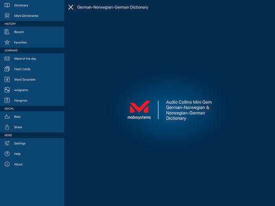 Audio Collins Mini Gem German-Norwegian & Norwegian-German Dictionary iPad Screenshot 1