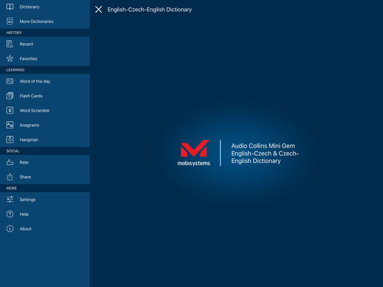 Audio Collins Mini Gem English-Czech & Czech-English Dictionary iPad Screenshot 1
