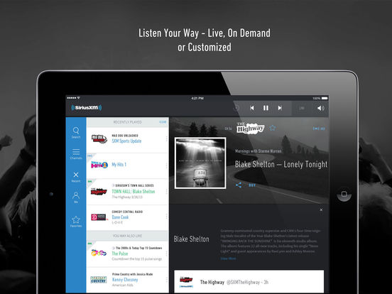 Screenshots of SiriusXM Radio - Music, Talk, Comedy, Sports, More for iPad