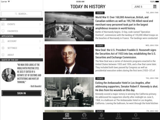 Today In History Lite iPad Screenshot 1