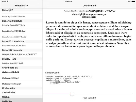 FontLibrary iPad Screenshot 1