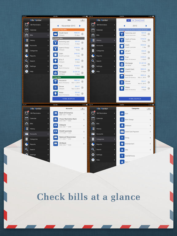 Bills Monitor for iPad - Bill Manager & Reminder screenshot