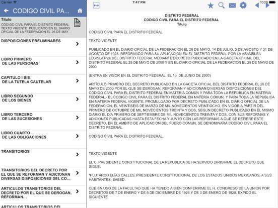 Codigos Estatales del Distrito Federal iPad Screenshot 2