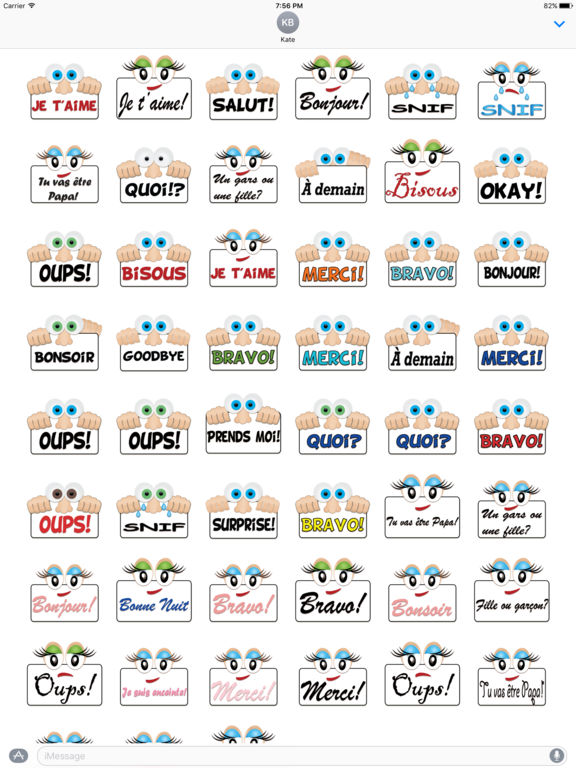 App shopper autocollants pour imessage en fran ais stickers for Autocollant mural francais