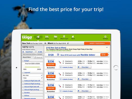 Comparateur de vols pas chers by liligo.com iPad Screenshot 2
