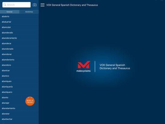VOX General Spanish Dictionary and Thesaurus iPad Screenshot 1