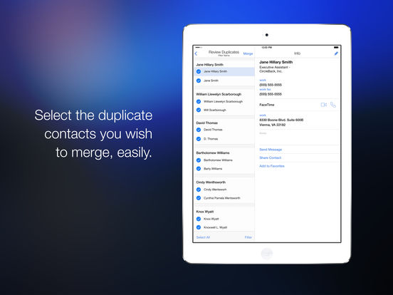 CleanUp Suite – Clean Up Address Book Duplicates Screenshots