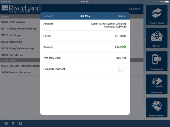 RiverLand Credit Union Mobile iPad Screenshot 3