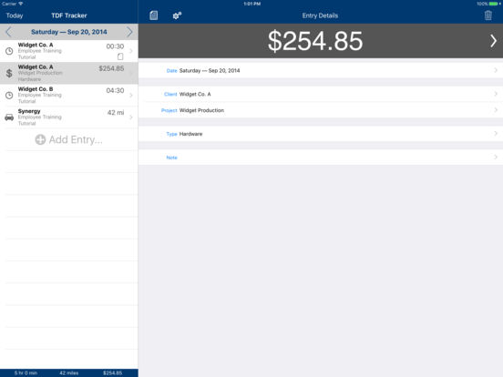 TDF Tracker – Time, Expense and Mileage Tracking iPad Screenshot 3