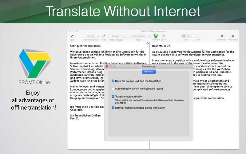 Screenshot PROMT Offline Translator English Pack