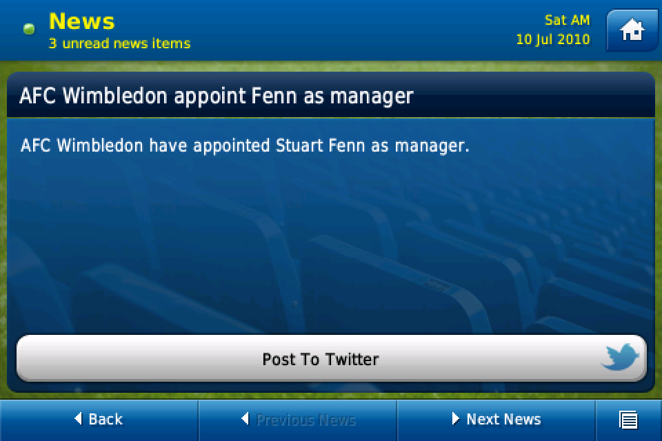 Football Manager Handheld™ 2011 (US and Japan) screenshot #2
