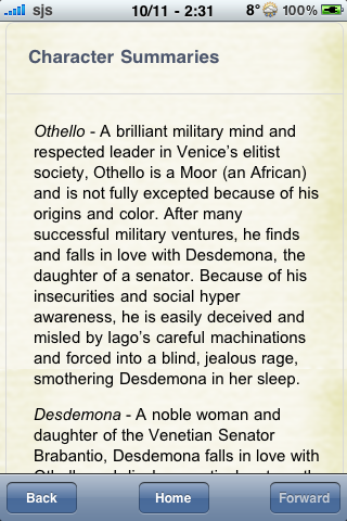 Book Notes - Othello screenshot #2
