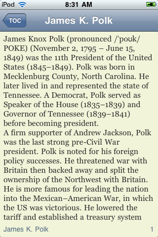 James K. Polk - Just the Facts screenshot #3