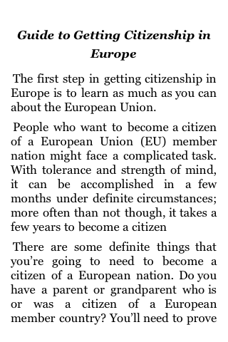 Guide to Getting Citizenship in Europe screenshot #1