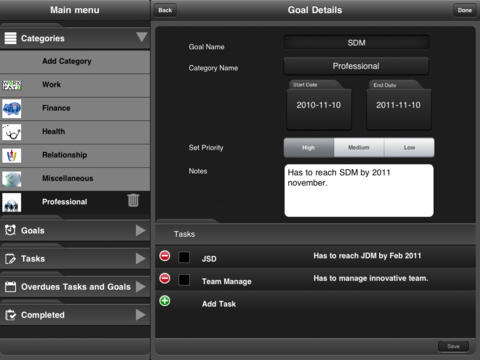 Set Goal for iPad screenshot 2
