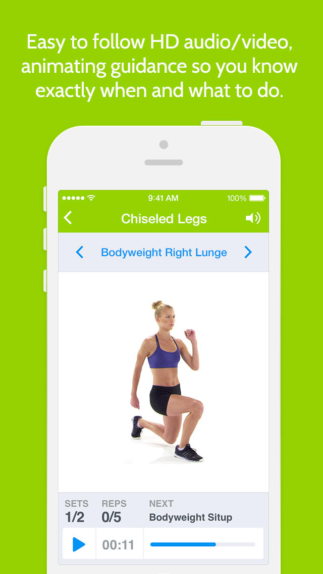 Instant Legs Trainer : 100+ leg exercises and workouts for free,  quick mobile personal trainer, on-the-go, home, office, travel powered by Fitness Buddy and Instant Heart Rate screenshot 3