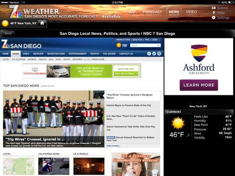 NBC 7 San Diego Weather for iPad screenshot 3