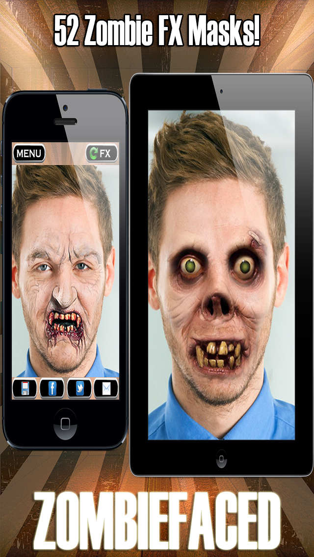 ZombieFaced Pro Edition -The Scary Zombie & Horror FX Face Booth screenshot 1