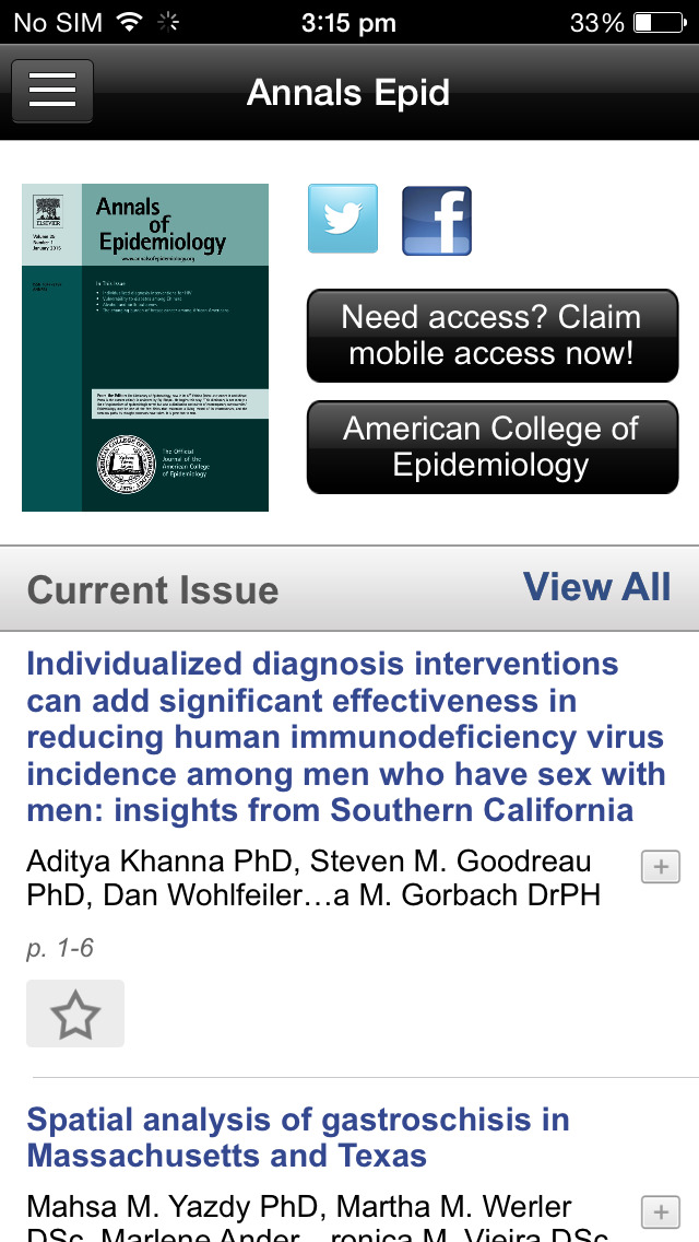 Annals of Epidemiology screenshot 4