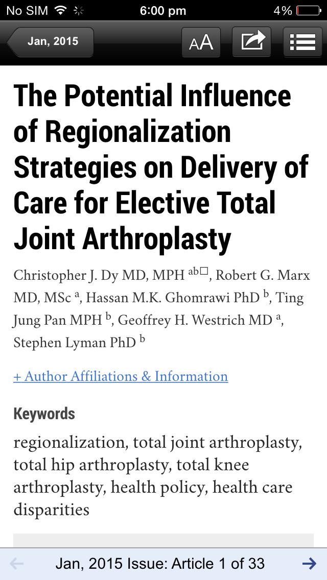 The Journal of Arthroplasty screenshot 3