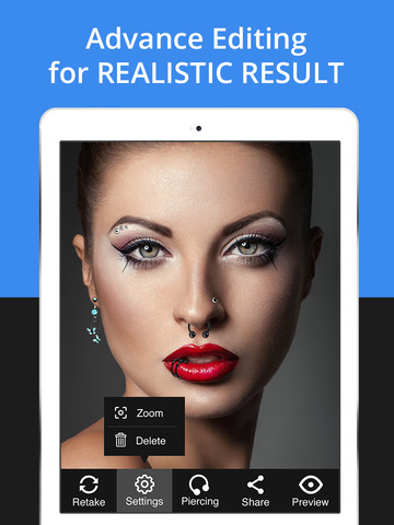 Body Piercing Booth PRO - Put Virtual Piercings on Body Parts & Face! screenshot 7