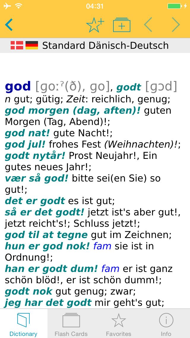 German Danish Dictionary screenshot 1