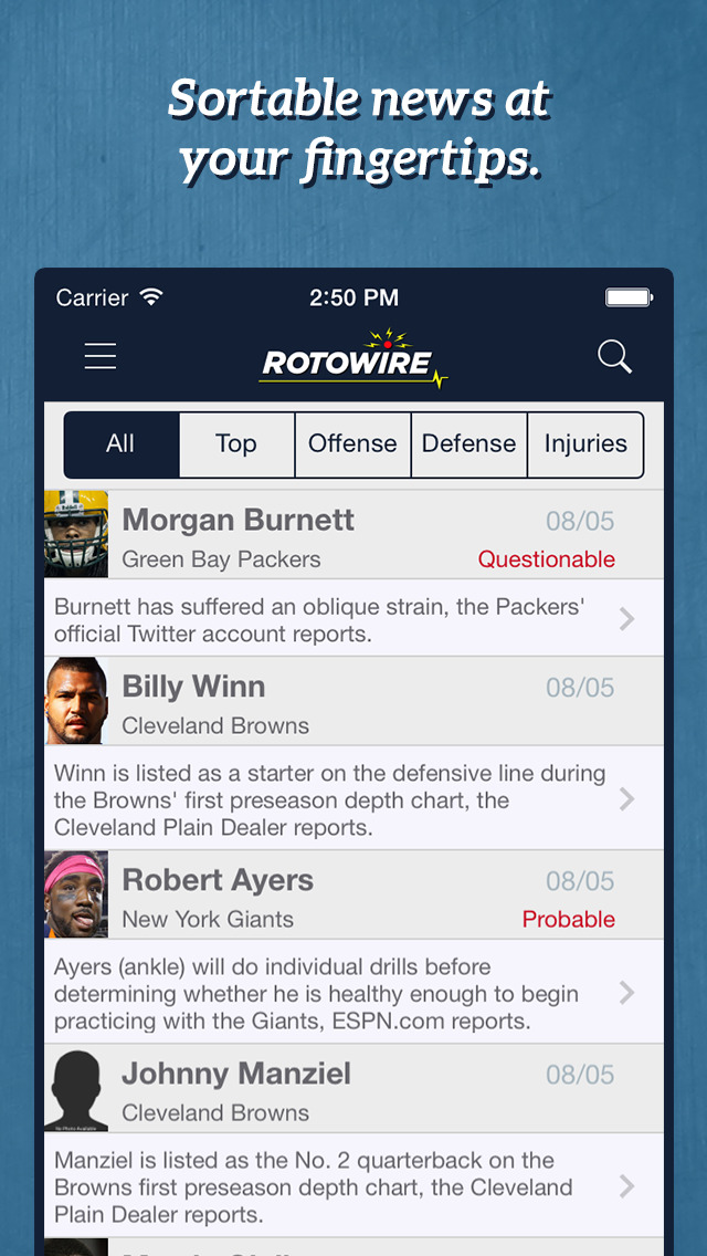 RotoWire Fantasy Football Assistant 2014 screenshot 4