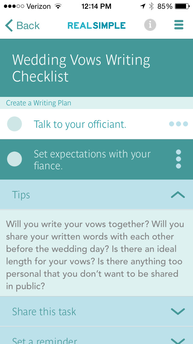 Real Simple Wedding Checklists screenshot 3